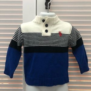 Adorable white and blue Polo sweater